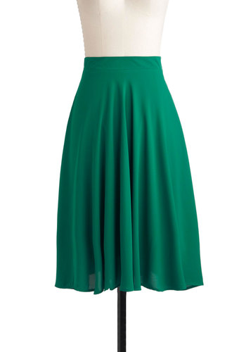 Green There, Done That Skirt - Green, Solid, Casual, A-line, Long