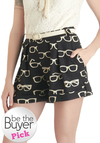 Frames and Fortune Shorts by Eva Franco - Black, White, Pleats, Pockets, Casual, Exclusives, Belted, Beach/Resort