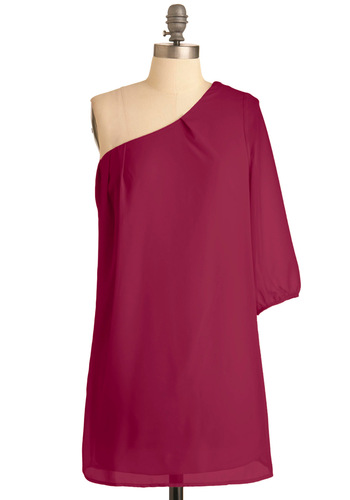 Sweet as Honeydew Dress in Magenta - Short, Pink, Solid, Party, 3/4 Sleeve, One Shoulder, Tent / Trapeze, Sheer