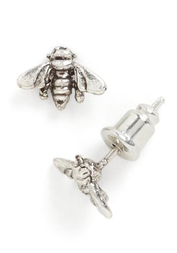 Bee Mine Earrings - Silver, Casual, Top Rated