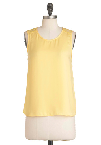 My Butter Half Top - Yellow, Solid, Lace, Casual, Sleeveless, Summer, High-Low Hem, Mid-length