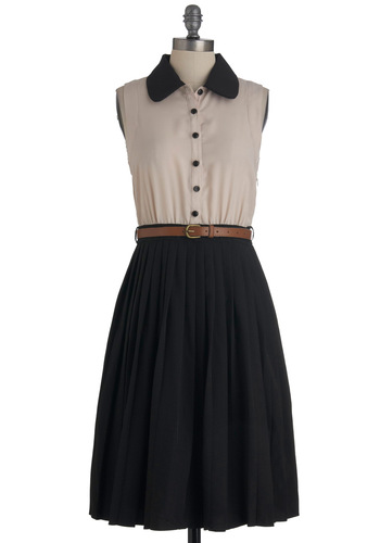 Just My Typesetting Dress - Long, Tan / Cream, Black, Buttons, Pleats, Work, Sleeveless, Belted, Shirt Dress, Scholastic/Collegiate, Button Down, Collared, Fit & Flare
