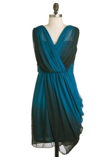 Twilight Gathering Dress - Mid-length, Blue, Black, Party, Sleeveless, Cocktail, Sheer, Ruching, V Neck