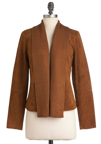 Oh Cabin, My Cabin Jacket by BB Dakota - Mid-length, Brown, Solid, Pockets, Long Sleeve, Suede, Fall, 2, Leather, Tis the Season Sale