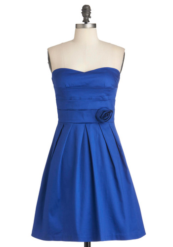 Com-pleat Perfection Dress - Blue, Solid, Flower, Pleats, Wedding, A-line, Strapless, Mid-length, Cocktail, Cotton, Fit & Flare, Sweetheart