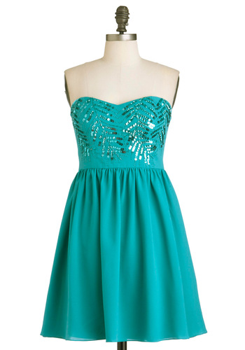 More Than Vine Dress - Green, Solid, Beads, Sequins, Prom, A-line, Strapless, Girls Night Out, Holiday Party, Short, Fit & Flare, Sweetheart, Formal