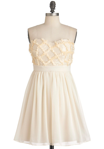 Swan That I Want Dress - Cream, Ruffles, Sequins, Wedding, Party, Empire, Strapless, Mid-length, Cocktail, Sweetheart