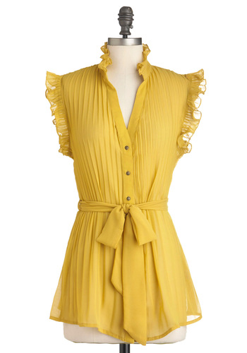 Savory the Moment Top - Yellow, Solid, Ruffles, Sleeveless, Belted, Mid-length, Sheer, Button Down, V Neck