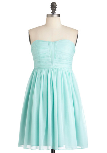 Flickering Allure Dress - Blue, Solid, Party, Empire, Strapless, Mid-length