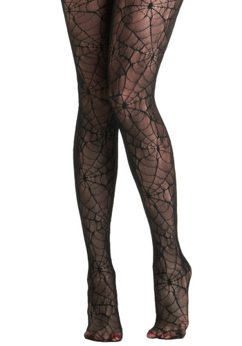Web the Night Falls Tights - Black, Urban, Print, Casual, Girls Night Out, Sheer
