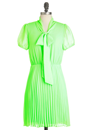 Neon a Whim Dress - Mid-length, Green, Solid, Pleats, Party, Shift, Short Sleeves, Summer, Tie Neck, Neon, Sheer