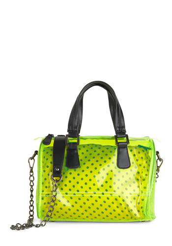 Clear to See Bag - Green, Polka Dots, Chain, Statement