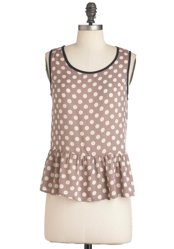 As Cute As You Dot Top - Mid-length, Tan / Cream, Polka Dots, Casual, Sleeveless, Black, Grey, Peplum