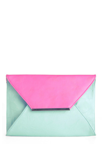 Mail Me to Miami Clutch - 80s, Party, Vintage Inspired, Girls Night Out, Faux Leather, Mint, Pink