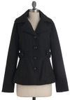 Style Be There Jacket by Jack by BB Dakota - Black, Solid, Pockets, Long Sleeve, Buttons, Mid-length, 2
