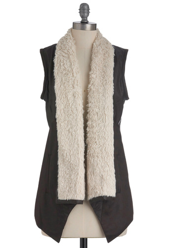 Rustic Runway Vest by Jack by BB Dakota - Long, Brown, Tan / Cream, Pockets, Casual, Sleeveless, Solid, Fall, 1, Faux Leather, Rustic