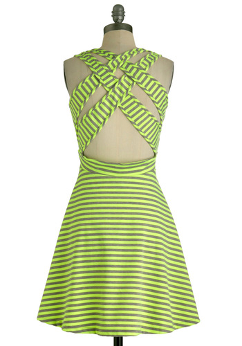 Kiss and Tell Dress in Neon Yellow - Mid-length, Yellow, Grey, Stripes, Backless, Casual, A-line, Sleeveless, Summer, Woven, Neon, Spring, Tis the Season Sale
