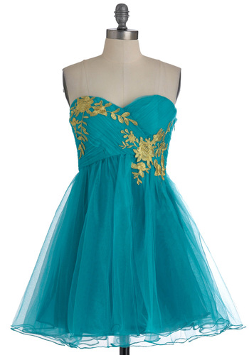 Garden Cotillion Dress in Teal - Green, Gold, Floral, Prom, Party, A-line, Strapless, Fairytale, Mid-length, Variation