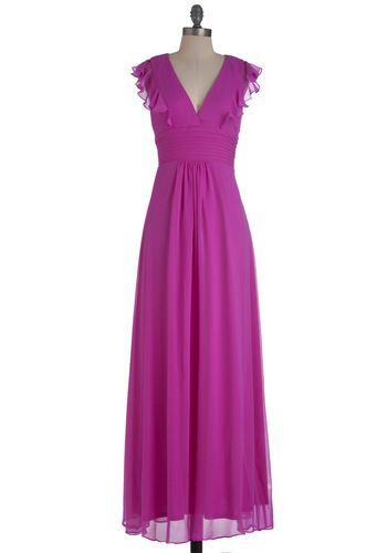 Thistle Impress Dress - Purple, Solid, Pleats, Ruffles, Wedding, Maxi, Long, Backless, Formal, Cap Sleeves, V Neck, Tis the Season Sale
