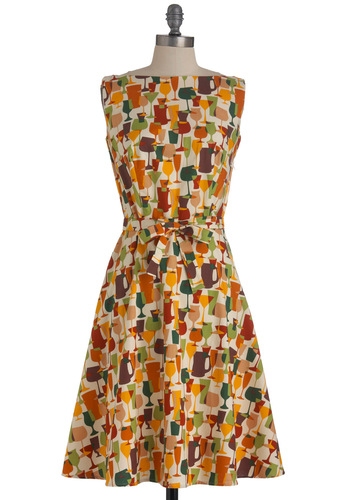 Alluring Acres Dress in Cheers - Long, Multi, Red, Orange, Green, Brown, White, Party, Vintage Inspired, 60s, Sleeveless, Belted, Cocktail, Cotton, Boat, Fit & Flare
