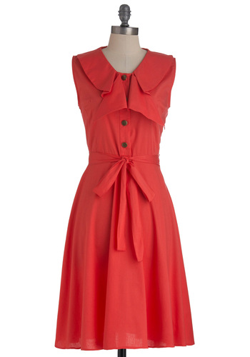 Good Luck Charming Dress - Long, Red, Solid, Buttons, Work, A-line, Sleeveless, Summer, Belted, Sheer, Cotton, Coral, Button Down, Collared, Fit & Flare