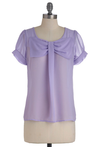 New Flame Top in Lilac - Mid-length, Purple, Solid, Bows, Short Sleeves, Spring, Variation, Work, Daytime Party, Pastel