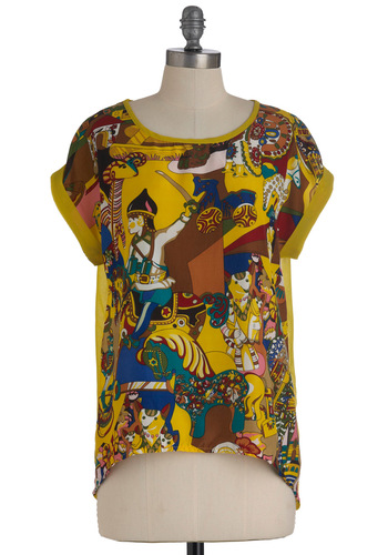 Toy de Vivre Top - Yellow, Short Sleeves, Mid-length, Multi, Multi, Novelty Print, Casual, High-Low Hem, Sheer