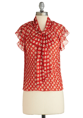 Sample 1874 - Red, Brown, Tan / Cream, Floral, Casual, Short Sleeves, Tie Neck