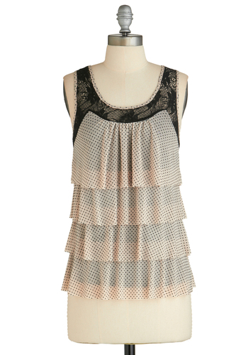 Sample 1876 - Tan, Black, Polka Dots, Lace, Tiered, Sleeveless