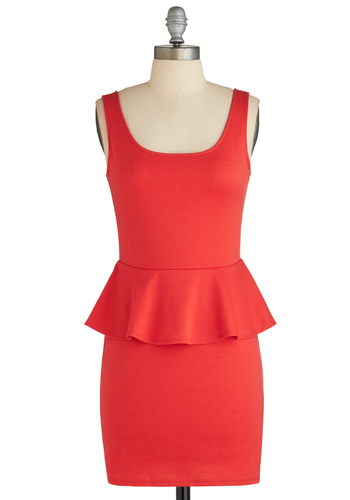 Sample 1896 - Red, Solid, Party, Tank top (2 thick straps), Peplum