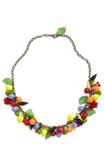 Out for Dessert Necklace - Multi, Red, Orange, Yellow, Green, Purple, Solid, Fruits