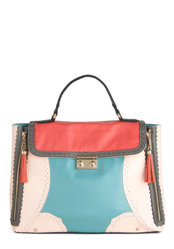 Parlor Pretty Bag - Multi, Orange, Blue, Grey, White, Scallops, Tassles, Casual, Statement, Work, Faux Leather
