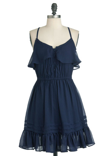 Get Prairie-d Away Dress - Mid-length, Blue, Solid, Buttons, Ruffles, A-line, Spaghetti Straps