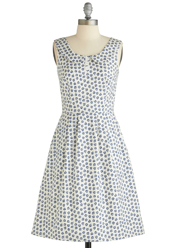 Nothing Bud Love Dress - Long, Blue, White, Floral, Buttons, Peter Pan Collar, Pleats, Pockets, Casual, A-line, Sleeveless, Spring, Scholastic/Collegiate, Cotton, Collared, Fit & Flare, Tis the Season Sale