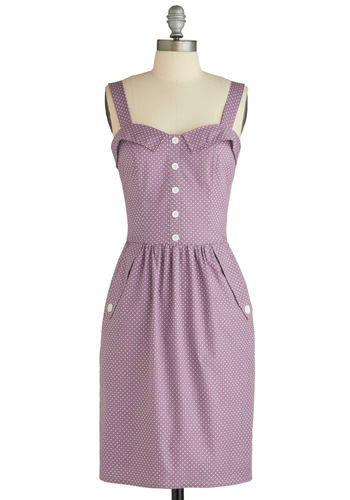 Catalogue Your Dots Dress - Mid-length, Purple, White, Polka Dots, Buttons, Pockets, Casual, Sheath / Shift, Tank top (2 thick straps), Summer, Pinup, Cotton, Sweetheart
