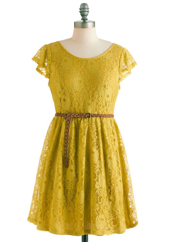 Like a Bosc Dress - Short, Yellow, Lace, A-line, Cap Sleeves, Belted, Solid, Casual