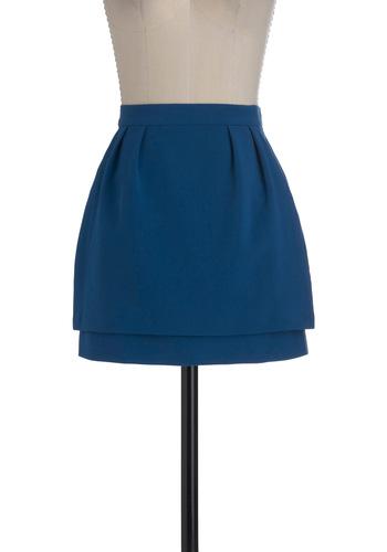Oceanfront Festival Skirt by BB Dakota - Short, Blue, Solid, Pockets, Tiered, A-line