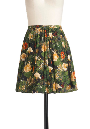 Ranunculus-ly Good Looking Skirt by Jack by BB Dakota - Short, Red, Orange, Blue, Black, Floral, A-line, Multi, Green, Pleats