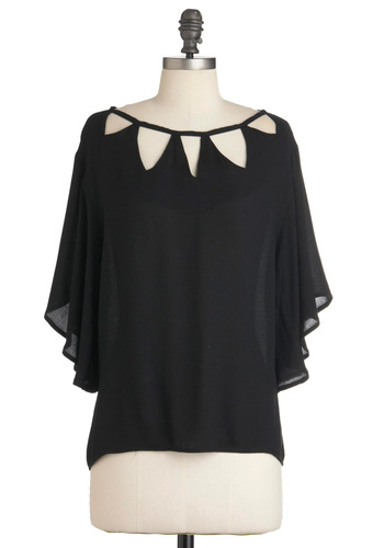 Tri Every Approach Top by Jack by BB Dakota - Mid-length, Black, Solid, Cutout, 3/4 Sleeve, Party, Sheer
