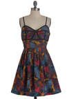 Summer Theater Dress by Jack by BB Dakota - Short, Multi, Print, Pleats, Party, Spaghetti Straps, Fit & Flare, Red, Yellow, Blue, Trim, A-line, Sweetheart