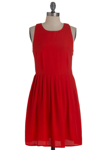 Summer Sizzle Dress by Jack by BB Dakota - Mid-length, Red, Solid, Cutout, Pleats, Party, A-line, Sleeveless