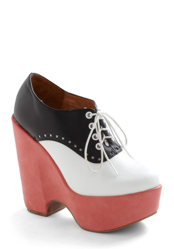 Saddle Up High Wedge by Jeffrey Campbell - Wedge, Black, White, Rockabilly, Vintage Inspired, Pink, Scholastic/Collegiate, Leather, Platform, Lace Up, Mid, High, Menswear Inspired