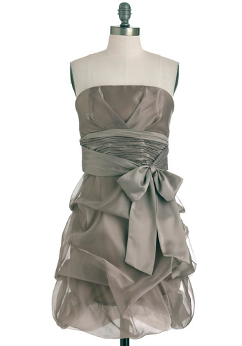 Taupe of the Town Dress by Max and Cleo - Tan, Solid, Wedding, Strapless, Mid-length