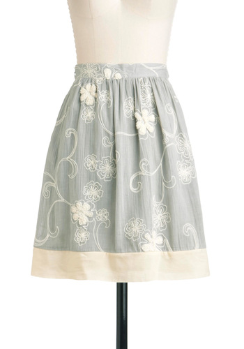 Graceful Note Skirt - Mid-length, Grey, Tan / Cream, Floral, Pockets, A-line, Embroidery