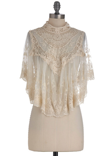 Photographic Flashback Cape in Ivory - Short, Cream, Solid, Lace, Short Sleeves, Crochet, Wedding, Party, Formal, Sheer, Variation