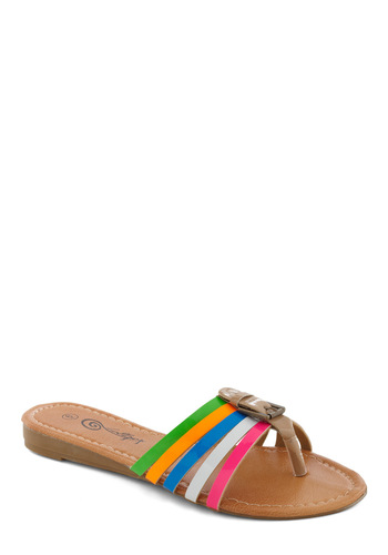 Down Every Road Sandal - Multi, Casual, Summer, Flat, Buckles, Neon