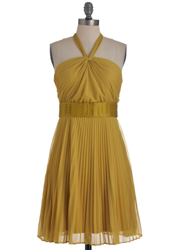 Chartreuse Topper Dress by Max and Cleo - Long, Yellow, Solid, Pleats, Wedding, A-line, Halter