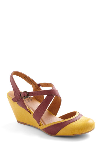 Light of Heart Wedge by BC Shoes - Wedge, Brown, Casual, Yellow, Leather, Mid