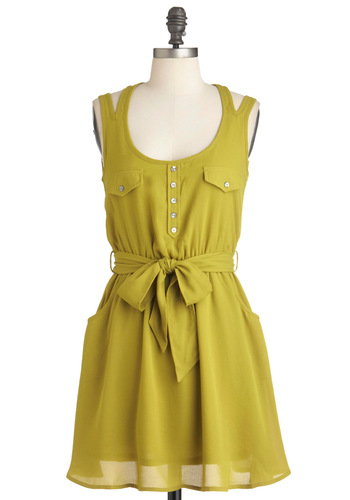 Lime the One for You Dress - Short, Green, White, Solid, Buttons, Lace, Pockets, Casual, Shirt Dress, Sleeveless, Summer, Belted, Sheer