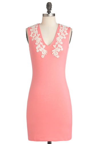 Applique by Me Dress by Motel - Short, Pink, White, Solid, Party, Sleeveless, Lace, Mini, Bodycon / Bandage, Cocktail, Cotton, V Neck, Tis the Season Sale